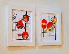 Mid Century Modern Bird Art, THE FLIGHT of FRIENDS, two 5x7 prints, Eames style, minimalist and bold design