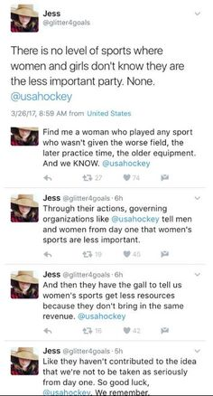 Important twitter thread on women and sports - female sports - sexism - misogyny - sports - athletes - patriarchy - feminism