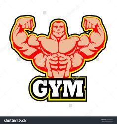 Gym Logo Vector Design. Muscle Man Bodybuilder. Huge Arms, Shredded Abs. EPS 10