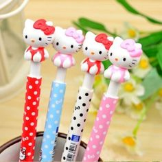 Material Escolar Kawaii Polka Dots Cap Press Type 0.5mm Ballpoint Pen Cute Stationery Promotional Gift K6456
