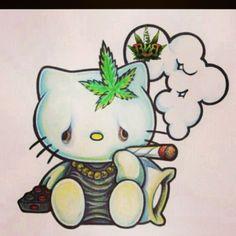 hello kittys a stoner ; Dibujos Tumblr A Color, Dragon's Teeth, Hello Kitty Art, Hello Kitty Tattoos, Marijuana Art, Medical Marijuana, Stoner Art, Youre My Person, Bad Cats