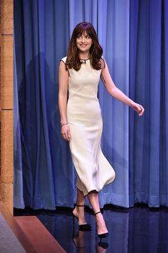 #DakotaJohnson with The dress absolutely stunning on The Tonight Show. #FiftyShades