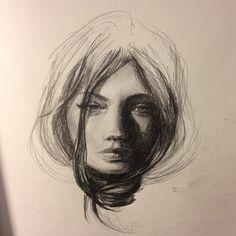 Amazing girl sketch by Carlos Torres.