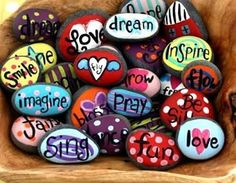 Try out these funky ideas of rock painting using vibrant colors. They make love room décor as well.