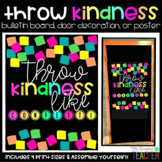 Throw Kindness Like Confetti Bulletin Board, Door Decor, or Poster Class Decoration, School Decorations, School Themes, Classroom Themes, Kindness Bulletin Board, Bulletin Boards, Christmas Classroom Door, Color Quotes, Confetti