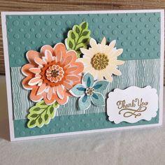 Stampin Up All Abloom + Flower Patch & Flower Fair framelits + embossing