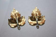 Vintage Rhinestone Earrings  Maple Leaf 1950s Jewelry by patwatty, $3.00