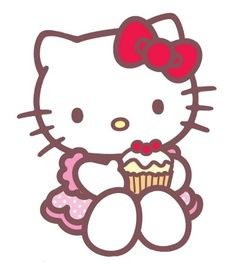 Hello kitty with a cupcake! Kawaii! Bolo Hello Kitty, Hello Kitty Cupcakes, Cat Cupcakes, Hello Kitty Birthday, Sanrio Hello Kitty, Ladybug Cupcakes, Snowman Cupcakes, Cupcake Cakes, Holiday Cupcakes