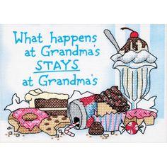 """Dimensions What Happens At Grandma's Mini Stamped Cross Stitch Kit-7""""X5"""", 7""""x5"""" 7""""x5"""""""