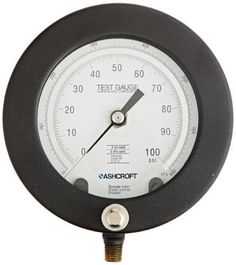 Ashcroft Type 1082 Aluminum (Silver) Solid Front Case Test Gauge, Phosphor Bronze Tube, Brass Socket, Compatible with Air and Non-Corrosive Liquids, Lower Mount, 4-1/2' Dial Size, 1/4' NPT Lower Connection, 30/0' Hg Vac Pressure Range