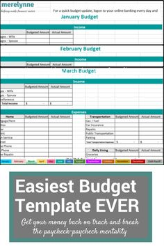 The Easiest To Use Budget Template ... EVER