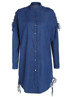 AD : Denim Stand Collar Lace Up Shirt Coat - BLUE   Clothes Type: Trench   Material: Cotton,Jeans   Type: Slim   Shirt Length: Long   Sleeves Length: Full   Collar: Stand-Up Collar   Pattern Type: Solid   Decoration: Button   Style: Fashion   Weight: 0.520 kg   Package: 1 x Coat
