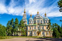 Almaty's wooden Ascension Cathedral was constructed without nails between 1904 and 1907, and is one of the only buildings in the city to survive a 1911 earthquake. Used for state and public purposes after the Russian Revolution, it was returned to the Russian Orthodox church in the 1990s.