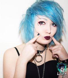 #Vampirefreaks #Goth girl Trippy Kisses wearing Lunatik Hair Dye Frostbite