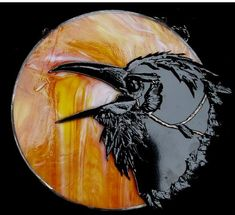 Raven - Delphi Stained Glass.   This is so cool, loved the texture of the bird's feathers.  Wonder why this is stained glass vs fused glass