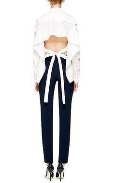 Tome - Open-Back Cotton-Poplin Shirt in White on Moda Operandi