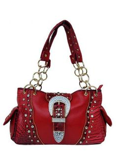 Western Red Rhinestone Buckle Handbag. #popular #fashion #purse #3d #womens #style #hot #trendy #boutique #sexy #bag #country #bling #cowgirl