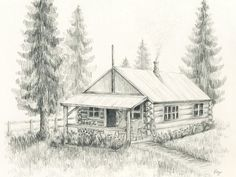 Log Cabin Drawing Original pencil drawing 810 of the little log cabin by rockplanet Pencil Sketches Landscape, Landscape Drawings, Pencil Art Drawings, Cool Landscapes, Art Sketches, Tree Drawings, Line Drawing, Painting & Drawing, Barn Drawing