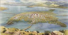 Aerial view of Tenochtitlan as it could be in the middle of Lake Texcoco