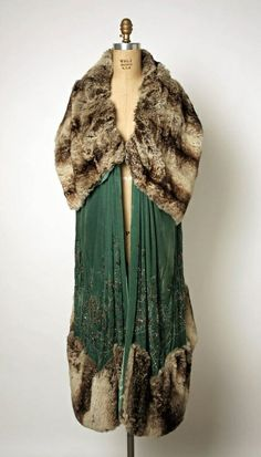 """Costume inspiration for Leila Arden in Bygone Theatre's """"Rope"""". Evening wrap Jenny (French) Date: early Culture: French Medium: silk, fur, glass 20s Fashion, Fashion History, Art Deco Fashion, Look Fashion, Vintage Fashion, Womens Fashion, Fashion Design, Gothic Fashion, Korean Fashion"""