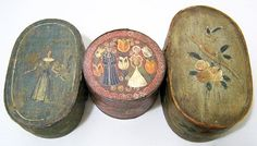 Three Continental bentwood brides boxes, 19th Century.