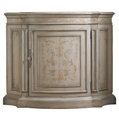 Hardwood demilune chest with 1 door and 2 adjustable shelves. Showcases veneers and hand-painted scrollwork.   Product: Chest