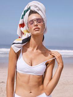GNASH Swim White Teardrop Crop Bikini Top at Free People Clothing Boutique