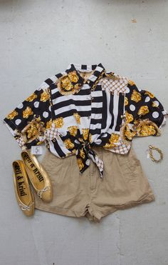 OUTFIT! Redesigned scarf-print tie-front shirt by Community Service, vintage shorts, metallic ballet flats, and a vintage brass bracelet.