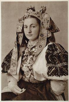 Beautiful bridal costume of Ocova, Slovakia 1953. Bride from village Očová, Podpoľanie region, Central Slovakia.