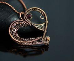 OrioleStudio.  Wire wrapped heart necklace artistic wire weave copper wire necklace garnet wire…
