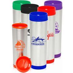 16 oz slim color top travel mug. Stainless steel with plastic liner. Dimensions: H x W. Custom Travel Mugs, Ny Usa, Porcelain Mugs, Company Logo, Stainless Steel, Plastic, Slim, Tableware, Top