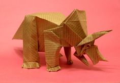 This triceratops was folded and photographed some months ago, I don't have it anymore because I gave it to a little cousin. I asked him to choose one of my origami models and he of course picked th...