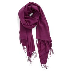 Women's Nordstrom Tissue Weight Wool & Cashmere Scarf (140 LYD) ❤ liked on Polyvore featuring accessories, scarves, purple passion, fringe shawl, fringe scarves, woven scarves, long scarves and woolen shawl