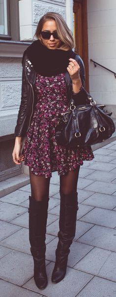 Leather jacket + dress + high boots