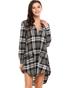 Red Long Sleeve Loose High Low Hem V Neck Pullover Plaid Shirt