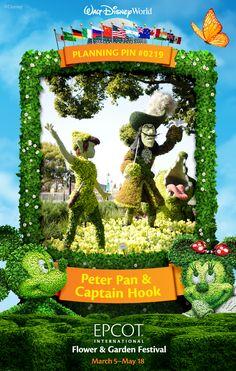 Walt Disney World Planning Pins: Peter Pan & Captain Hook at Epcot International Flower and Garden Festival #EpcotInSpring