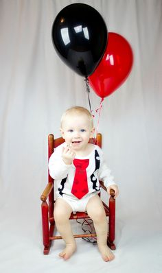 Mickey Mouse Boy Tie Onesie with Suspenders and Matching Pants - Boy Birthday, Photo Prop. $36.00, via Etsy.