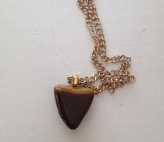 Tigers Eye NecklaceStone Pendant NecklaceCharm by NYVintageCouture