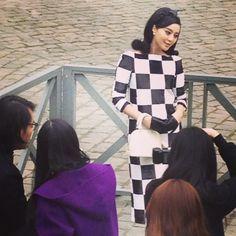 Check-check it out: Fan Bing Bing at the Louis Vuitton Fall/Winter 2013-2014 Women's Fashion Show.