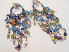 """Vintage Earrings 5"""" LONG Multi Colored GLASS Beads Large Chunky BOHO Clip On WOW #Unbranded #DropDangle"""