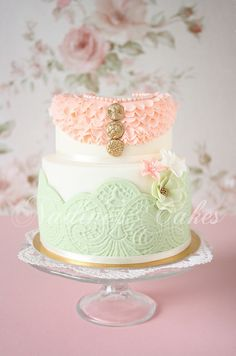 Pink ruffle and green lace vintage wedding cake