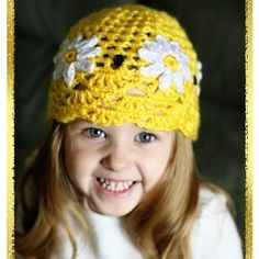 Girls Yellow Daisy Crochet Hat Pattern  Childs 2t - 7 yrs