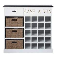 Mueble botellero de madera blanca An. 102 cm Comptoir des épices