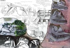 Great ideas for a sculpture / design project: make conceptual models from card or paper, photograph and then draw over the top...