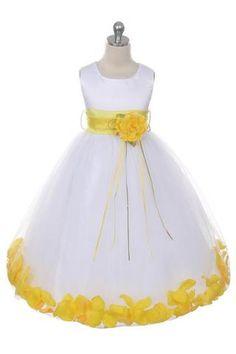 7f9f859a9bc Girls White Satin Petal Flower Girl Dress by Kids Dream