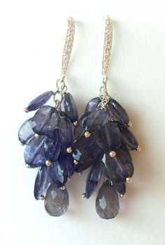 Iolite cluster earrings in sterling Silver 925,cz