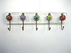 Jewelry Rack / Key Ring Holder with Ceramic hooks