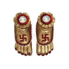 Handmade Lakshmi Charan Paduka - Handmade Terracotta / Earthen Clay Lakshmi / Ma Laxmi Charan Paduka Decorative Diya For Diwali – - Diya Decoration Ideas, Decorations, Diwali Gifts, Traditional Decor, Handicraft, Arms, Clock, Handmade, Home Decor