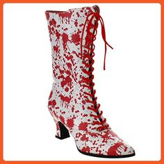 Womens White Lace Up Boots Red Bloody Print Costume Boots Zip 2 3/4 Inch Heels Size: 8 - Boots for women (*Amazon Partner-Link)