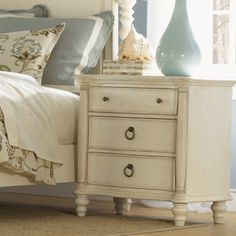 Have to have it. Glen Cove 3 Drawer Nightstand - Weathered White - $389 @hayneedle.com